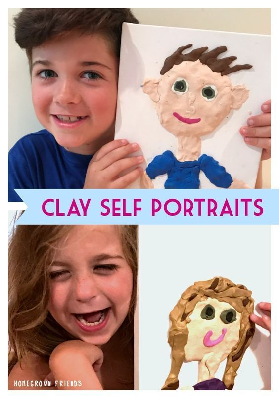 Kid Made Clay Self Portrait Canvases | Kids Craft Ideas