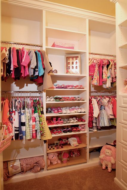Kids Wardrobes in Three Different Style Designs: Wide Closet For Girls With Many Shoes Shelves White Drawers Brown Floor White Shelves And Iron Clothes Hangers ~ SFXit Design Kids Room Inspiration
