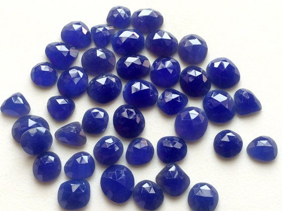 5 Pcs Blue Chalcedony Rose Cut Cabochons 11-15mm by gemsforjewels