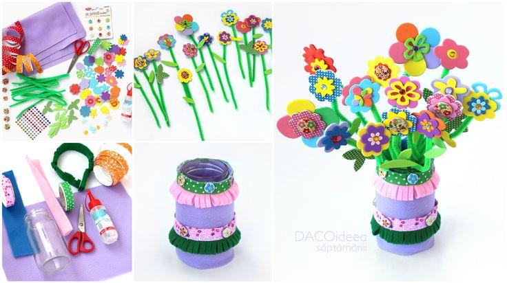 Vază cu flori; pentru a realiza proiectul am folosit: fetru uni, fetru asortat, bandă textilă adezivă Verde îmbulinat!, bandă textilă adezivă Roz înflorat!, margarete spumă autoadezivă, Florina, Floricele spumă autoadezivă, Flori în ghiveci și Bling, toate de la DACO. Produsele sunt disponibile în magazinele partenere și pe www.dacomag.ro/.