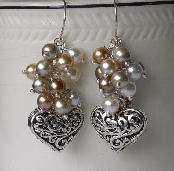 Hearts and Pearls Handmade Beaded Earrings by bdzzledbeadedjewelry, $19.00