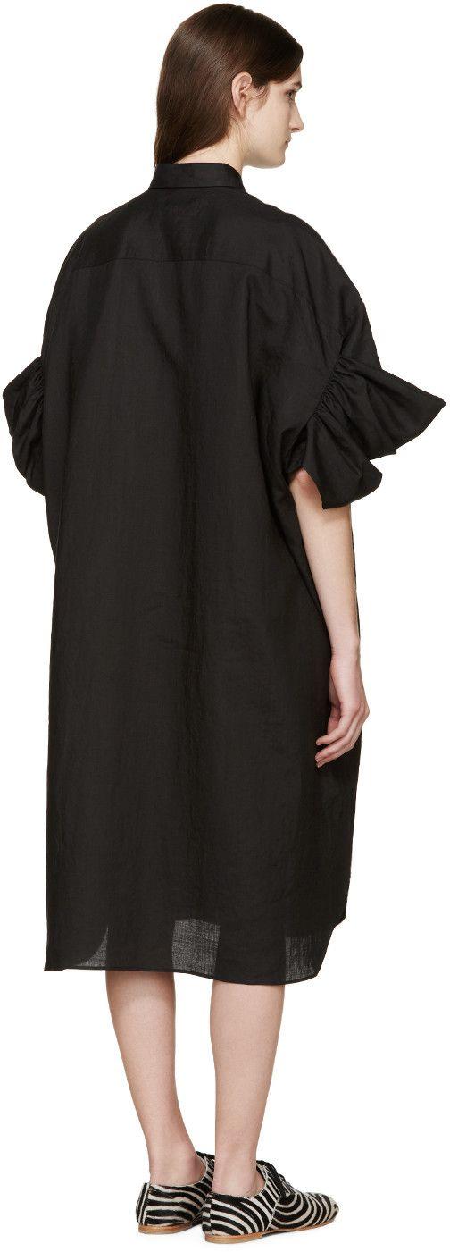 Junya Watanabe - Black Ruffled Linen Shirt Dress
