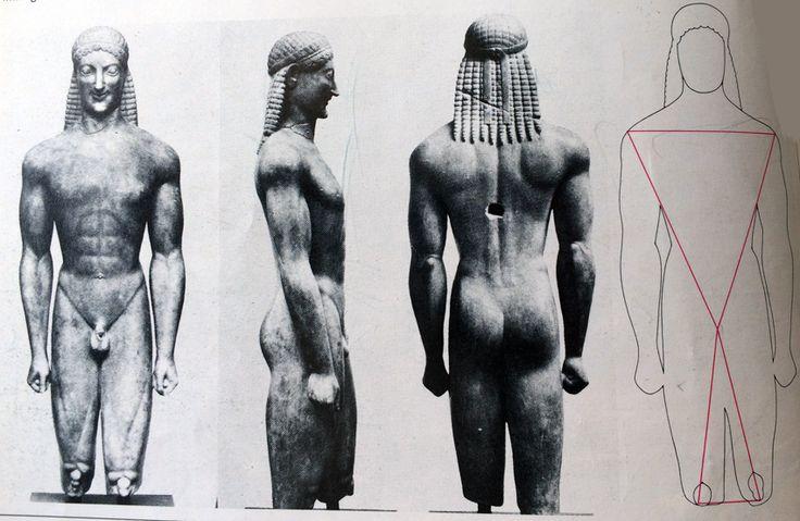"""LA SCULTURA GRECA (KOUROS MILANI) KOUROS MILANI, statua in marmo alta 1,39 m (530 a. C. Firenze , Museo Archeologo).  Il volto ha i tratti arcaicizzanti delle sculture antiche e un sorriso carico di vitalità. La figura è come """"sull'attenti"""",con una gamba leggermente spostata in avanti.Le braccia sono allineate al busto e la mano è chiusa a pugno come nelle statue egizie. #art #scultura #greca #grecia #KOUROS #history #storia"""