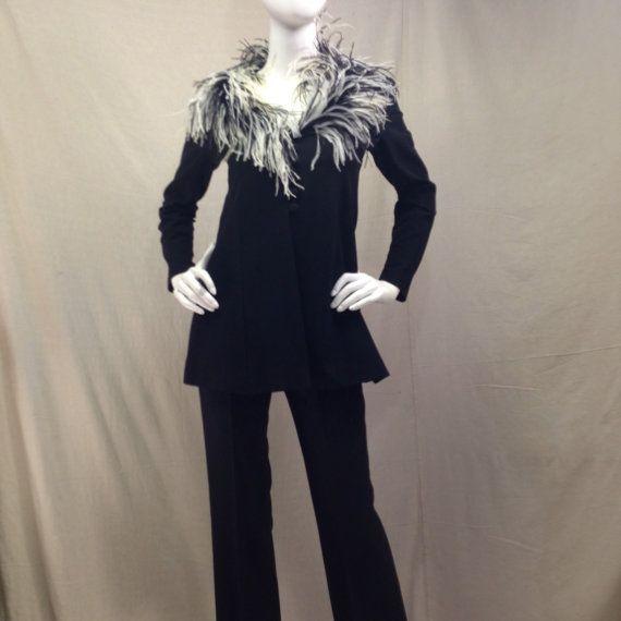 Pluma cuello chaqueta pantalones avestruz Set pieza de declaración / / Vintage mujer traje negro encanto de Hollywood