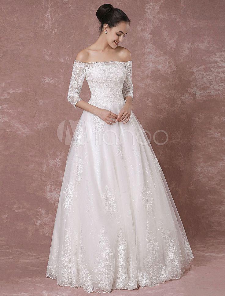 Spitzen Hochzeitskleid Off-the-Schulter Pailletten Tüll halbe Ärmel Brautkleid bodenlangen a-Linie Sicke Luxus Brautkleid