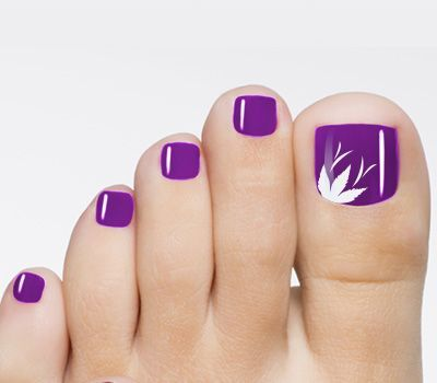 purple toenail art flower design