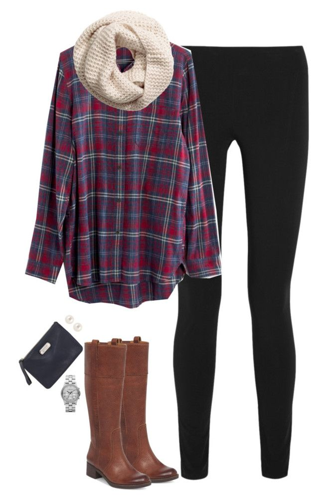 Oversized plaid shirt leggings u0026 boots by steffiestaffie on Polyvore featuring Madewell Helmut ...
