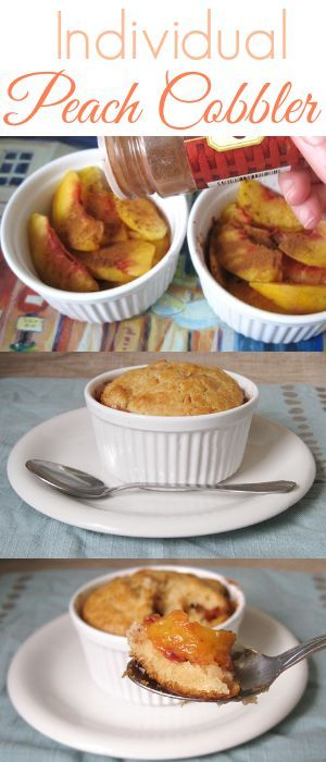 Peach cobbler made in individual ramekins make a quick, easy, delicious dessert!