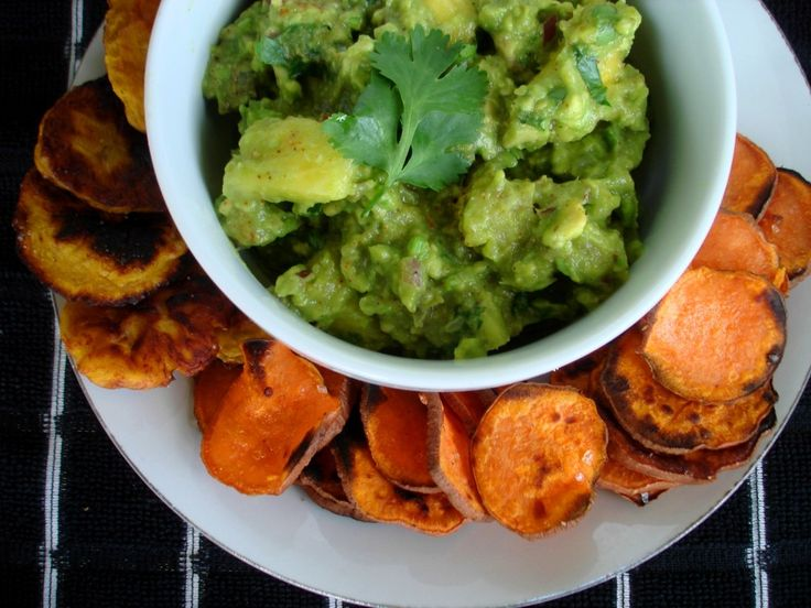 Chunky Pineapple Guacamole with Grilled Sweet Potato Chips - Vegan