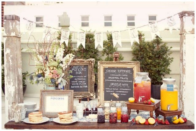 pancake bar for the brunch wedding!    Although you can of course attend your brunch wedding in the whole works – formal wedding gown, morning suits for the boys – another alternative is to pick one of the super sweet short dresses that you'll find on the market. Another place for budget brides to save some cash!