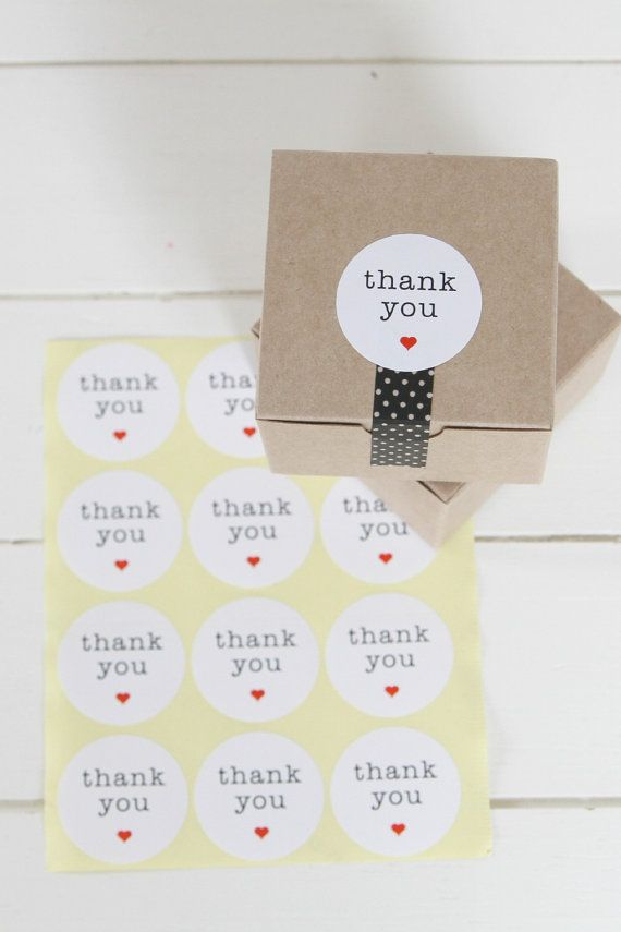 Favor Thank You Stickers | 96 ROUND White Thank You Labels Stickers | Wedding Favors etc.