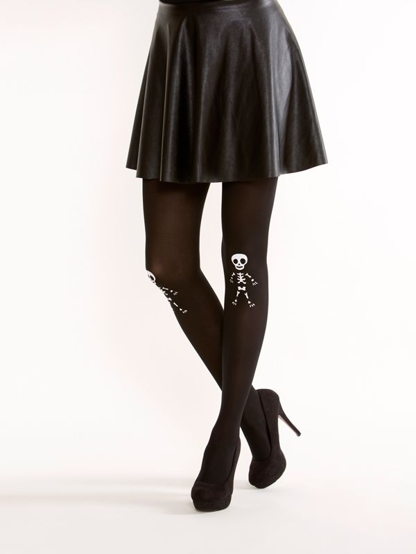 Cute skeleton tights! Cute skeleton tights on semi-opaque black tights (the pattern is on the front).