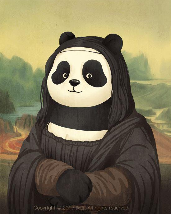 Divertidos osos panda ilustrados que reemplazan las pinturas más icónicas (Yosfot blog)
