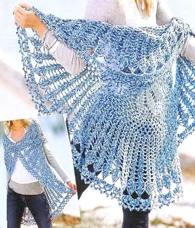 Crochet Sweater: Crochet Circular Vest - (DIAGRAM Pattern)