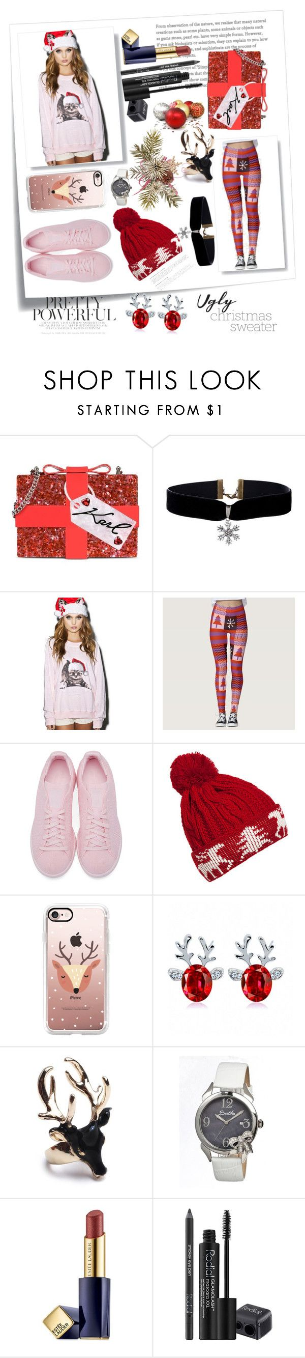 ugly Christmas sweater by whovienforlife on Polyvore featuring Wildfox, adidas Originals, Karl Lagerfeld, Bertha, Casetify, WithChic, Rodial, Estée Lauder and Post-It