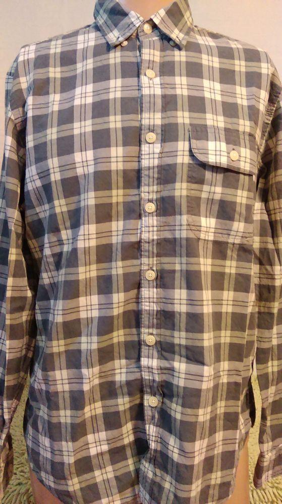 J.Crew Mens Size M Gray Plaid Tailored Button-Down Madras Shirt Long Sleeve *2 #JCREW #ButtonFront