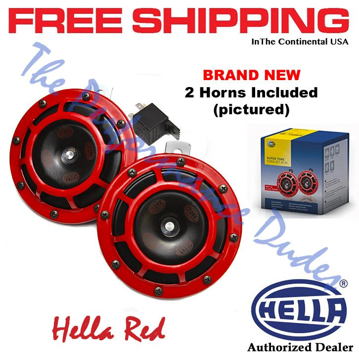 Same Business Day Shipping HELLA 114dB Yellow x 10 & HELLA Red Super Tone Dual Horns x 10 - Package Deal