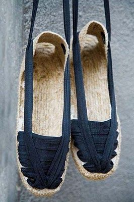 It's light, environmentally-friendly, authentic, natural. The term espadrille is French and derives from the Catalan name for the shoes,espardenya, which derives from the Catalan name for esparto, a tough, wiry Mediterranean grass used in making rope. Espadrilles have been made in Catalonia since the 14th century at least, and there are shops in Catalonia still in existence that have been making espadrilles for over a century.   ❤❤❤❤