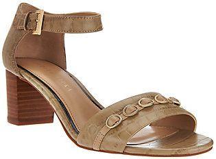 Judith Ripka Leather Block Heel Sandals w/ Adj Ankle Strap - Isabella