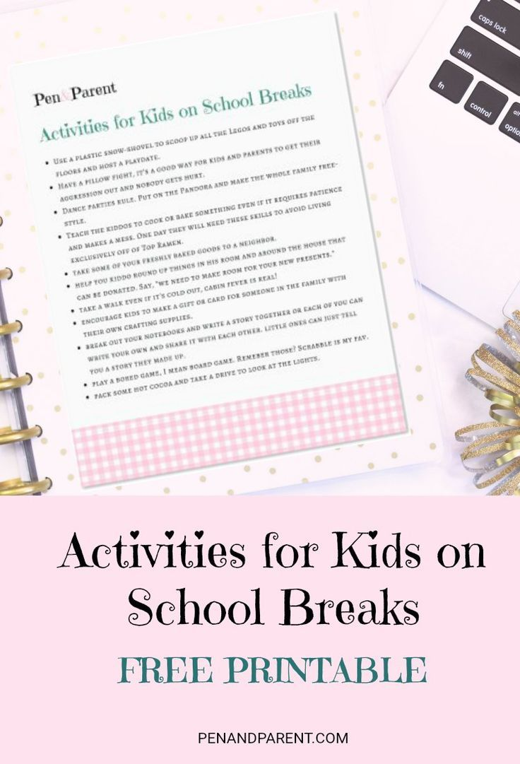 Wondering what to do with your kids on school breaks? Check out these great tips and get your FREE PRINTABLE. Happy kids means happy parents!