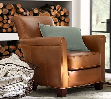 Irving Leather Armchair #potterybarn  also comes in recliner and a swivel option