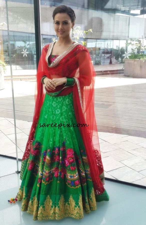 Bollywood actress Sana khan in Rohit verma lehenga at LifeStyle exhibition launch in Hyderabad, October 2015. She looked elegant in traditional style lehen