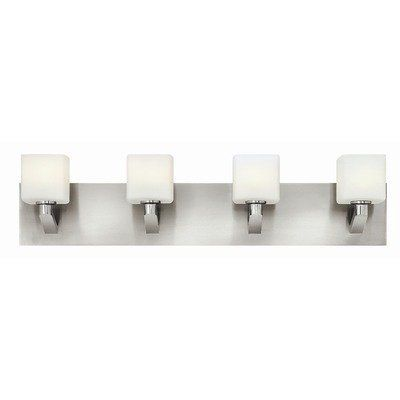 "Sophie 4 Light Bath Vanity Light by Hinkley Lighting. $349.00. 54684BN Features: -Bath vanity light.-Number of lights: 4.-Material: Steel.-Glass type: Etched opal. Color/Finish: -Finish: Brushed nickel. Specifications: -Bulb type: 60W G-9 bulb.-120 Volts. Dimensions: -Wire length: 4"".-Overall dimensions: 6.5"" H x 28.75"" W."
