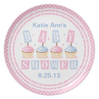 Cupcake Baby Shower Plate