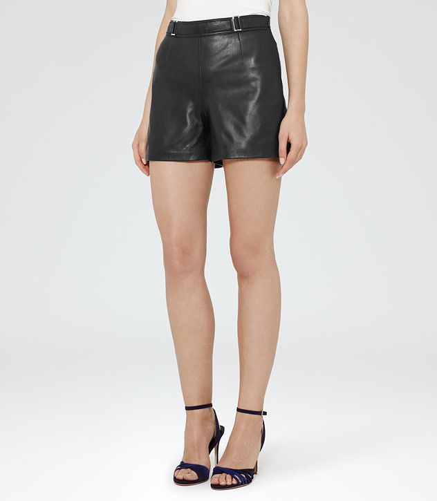 Bowery Black Leather Shorts - REISS
