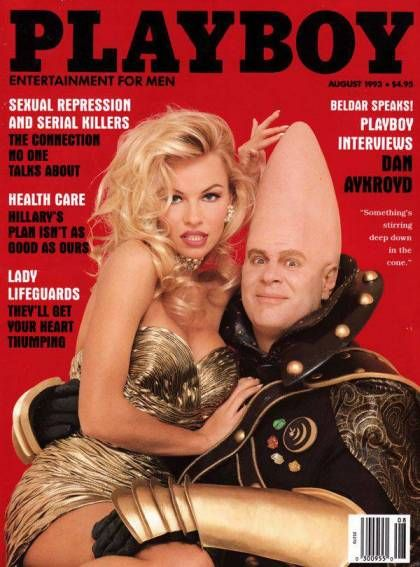Dan Aykroyd and Pamela Anderson on the cover of Playboy August 1993.