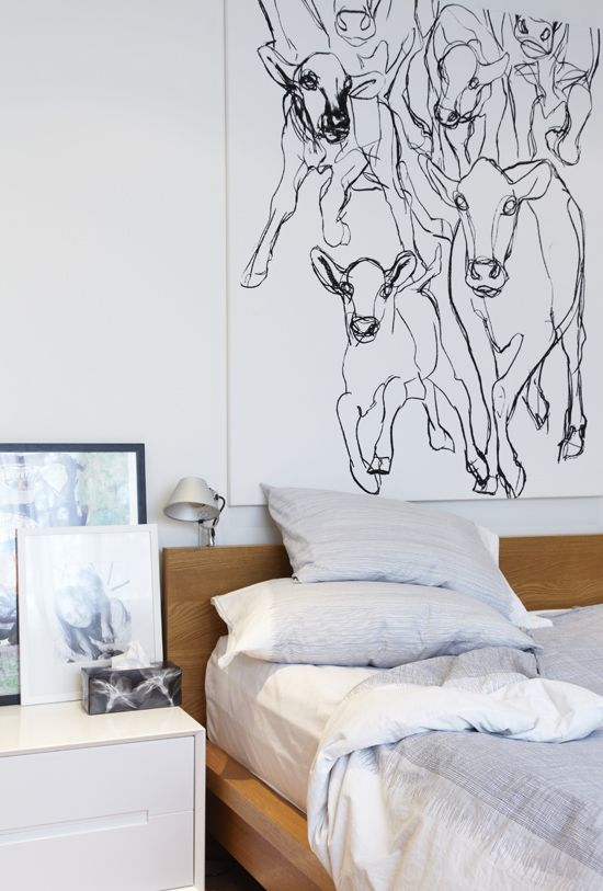 i like large white canvas with black sketch-like graphics as wall art.