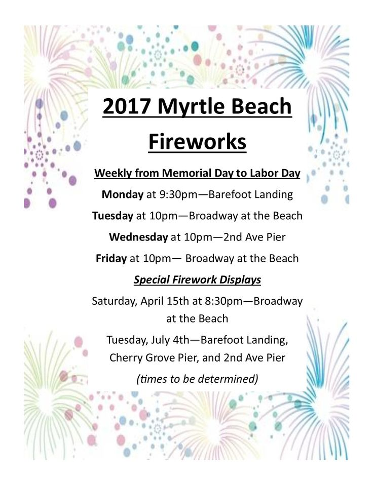 The 2017 Myrtle Beach Firework Schedule!