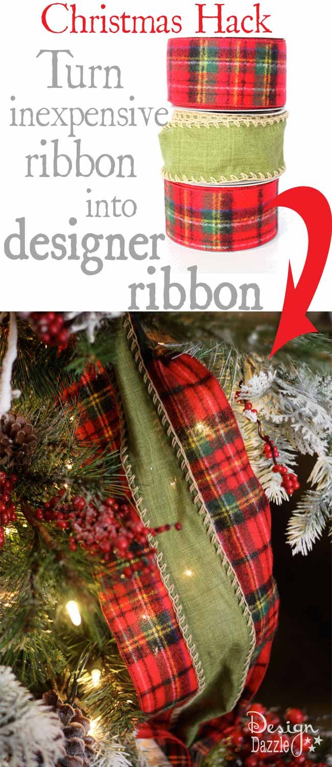 """It's so hard to find """"high-end"""" wide designer ribbon that isn't outrageously expensive. I took 3 rolls of ribbon (on sale) used a glue gun and a metal spoon and turned it into designer ribbon! Design Dazzle #christmasribbon #christmashacks"""
