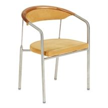 Konferencestol.  OneCollection. Chairman.  Design: Henrik Tengler.  Sæde og ryg i sandfarvet alcantara med stel i kirsebær og stål.