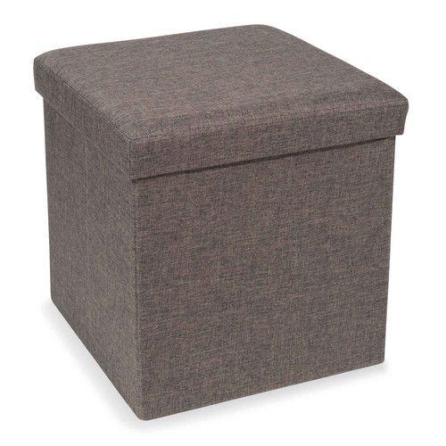 Pouf coffre pliable en tissu gris STONE