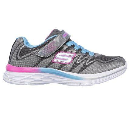 Skechers Kids' Dream N Dash Whimsy Girl Sneaker Pre/Grade School Shoes (Charcoal/Turquoise) - 13.0 M