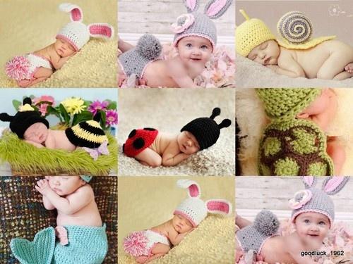 Baby Crochet Cotton Knit Beanie Hats Animal Photography Props Set Newborn-6Month | eBay