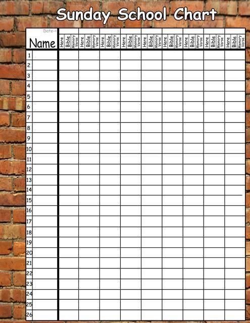 Brickwall Sunday School Chart Decal