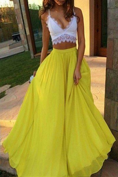 Yellow High Waisted Maxi Skirt
