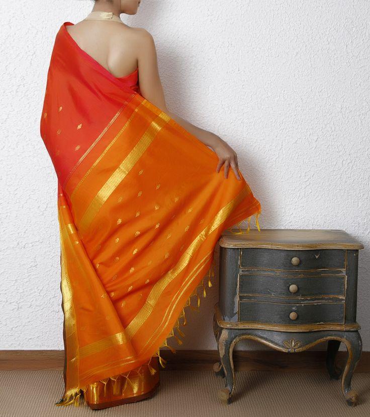 Red & Orange Silk Saree