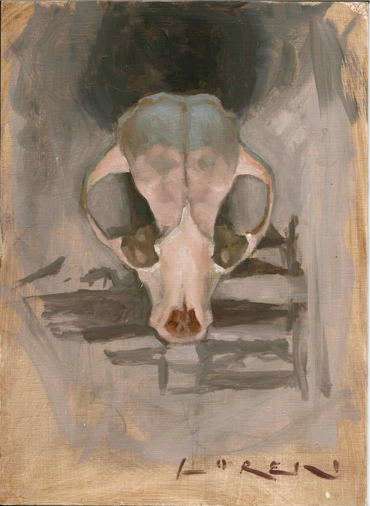 Oil sketch of a possum skull