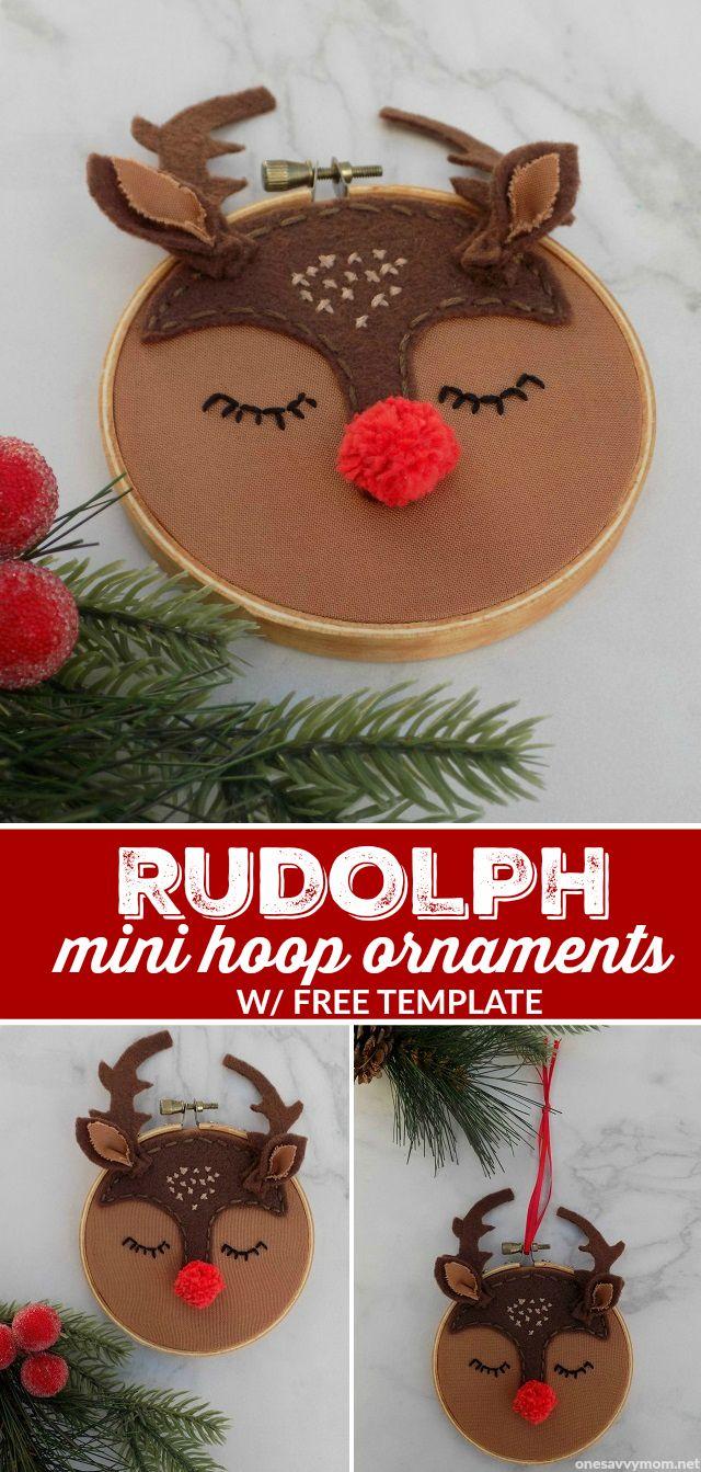 Rudolph The Red Nosed Reindeer Mini Embroidery Hoop Ornament W Free Template Handmad Kids Christmas Ornaments Kids Christmas Crafts Ornaments Kids Ornaments