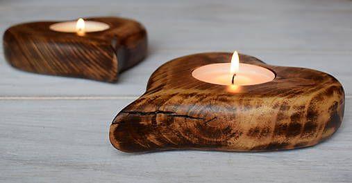 woodartAM / Svietnik - drevené srdce (veľké)