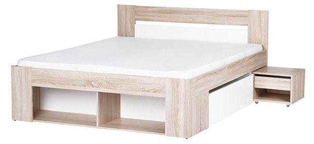 Posteľ z modelovej rady Milo moderného prevedenia je vyrobená z kvalitnej LTD vo farebnej kombinácii dub sonoma a biela. Posteľ obsahuje na každej strane zásuvku pod posteľ a nočný stolík so zásuvkou, ktorý je možno zasunúť pod posteľ. V nohách postele je regál.