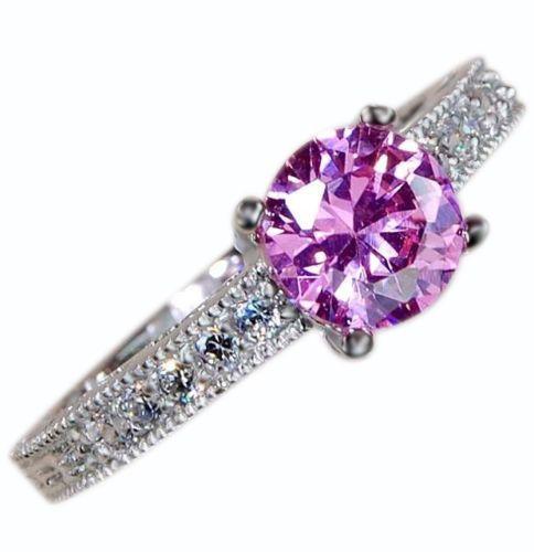 2CT Pink Sapphire & White Topaz 925 Solid Genuine Sterling Silver Ring #AffinityGold #Fashion #EngagementWeddingAnniversaryPromiseValentine