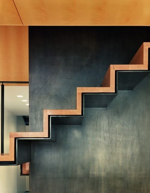 Beautiful metal patina contrasting with wooden staircase via Erwan M. Private