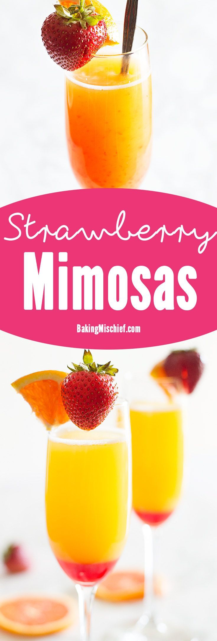 """Make brunch even better with a simple but beautiful strawberry upgrade to your classic mimosa recipe. Recipe includes nutritional information and """"mocktail"""" instructions. From BakingMischief.com"""