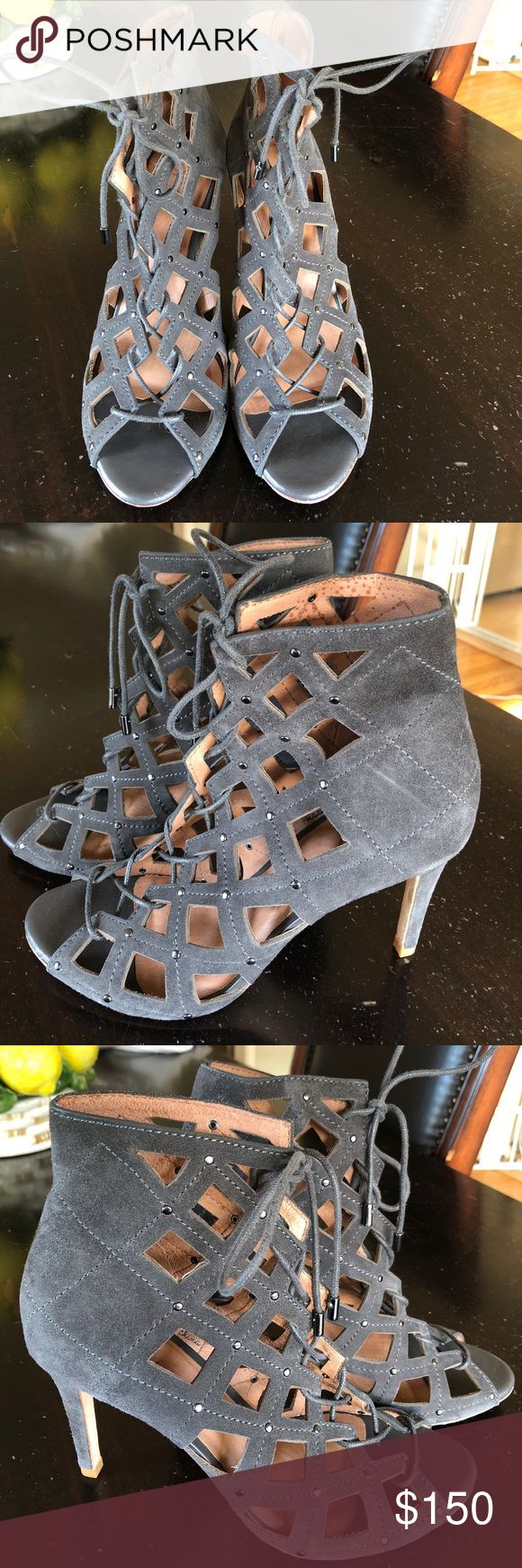 Joie caged grey suede heels Joie caged grey suede heels worn one ☝️ n excellent condition super edgy Joie Shoes Heels