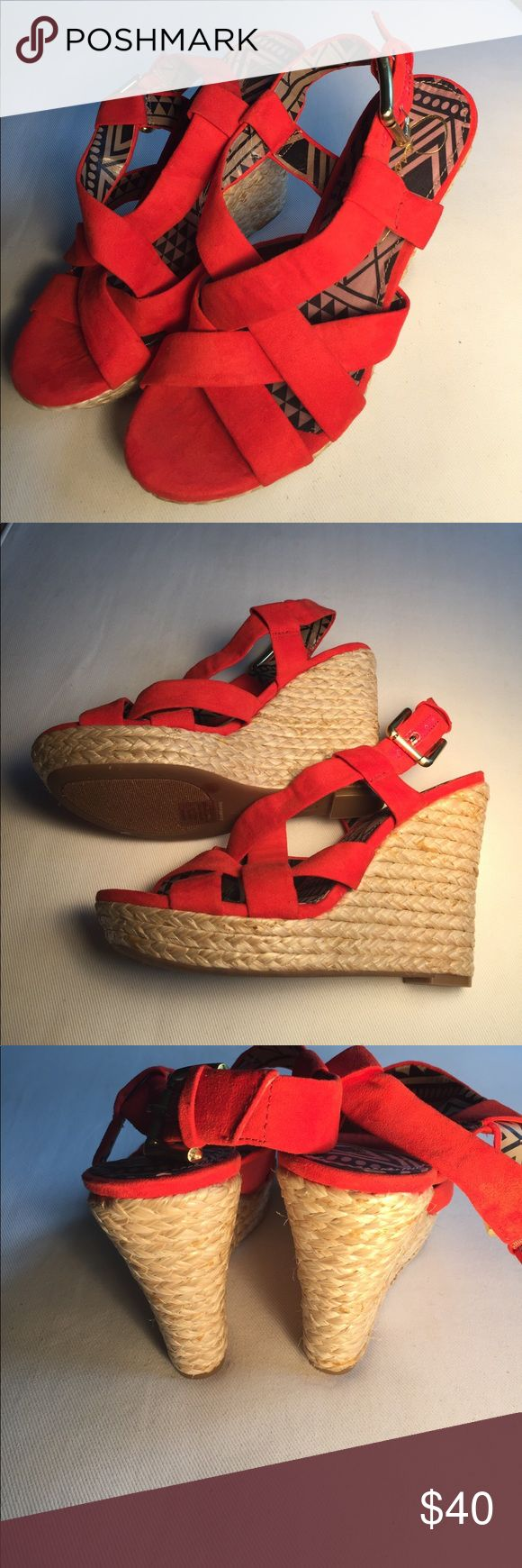 Jessica Simpson red suede wedges, new size 6.5 Jessica Simpson red suede wedges brand-new never worn size 6 1/2 Jessica Simpson Shoes Wedges