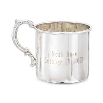 Baby's Sterling Silver Personalized Cup With Scroll Handle